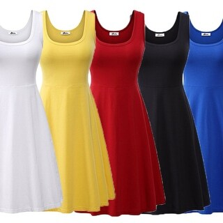 Women Summer Beach Casual Flared Midi Tank Dress
