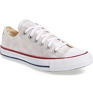 Converse Womens Chuck Taylor All Star White White Gray Sheenwash Ox sneaker s Vaporous