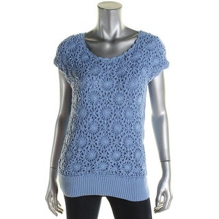 Joseph A Womens Pullover Sweater Crochet Front Ribbed Trim Blue XL