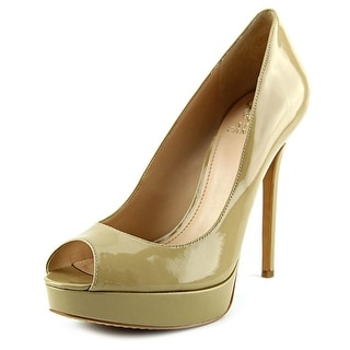 Vince Camuto Lorim Women Open Toe Patent Leather Nude Platform Heel