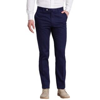 Man 1924 By Carlos Castillo Flat Front Chinos Pants Navy Blue 32 x 32