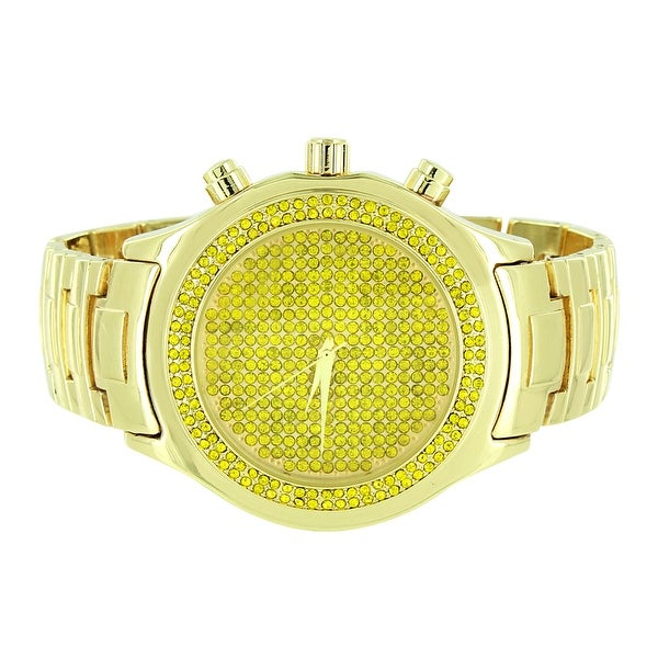 Gold Finish Mens Watch Yellow Iced Out Simulated Diamonds Classy Look Analog Display On Sale