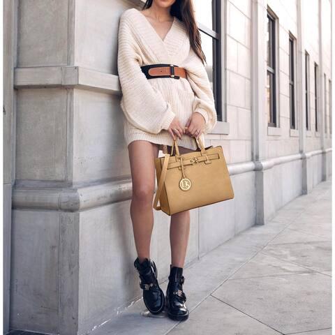 Dasein Women Fashion Belted Satchel Top Handle Handbag