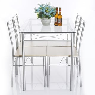 5-piece Glass Dining Table Set, Glass Table and 4 Chair Sets Metal Kitchen Room Furniture (Silver)
