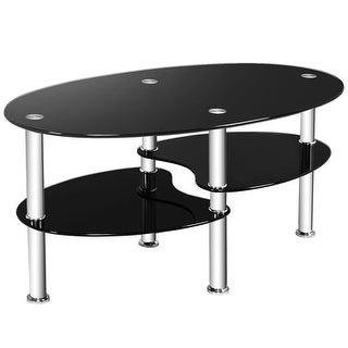 Link to Costway Tempered Glass Oval Side Coffee Table Shelf Chrome Base Living Similar Items in Living Room Furniture