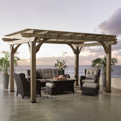 Backyard Discovery Somerville 14 x 10 Cedar Pergola with Electric