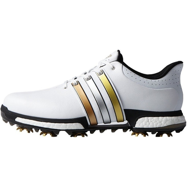 huge selection of 51aeb f7ce8 Shop Adidas Mens Tour 360 Boost FTWR WhiteGold MetallicCore Black Golf  Shoes F33483 - Free Shipping Today - Overstock - 18696312