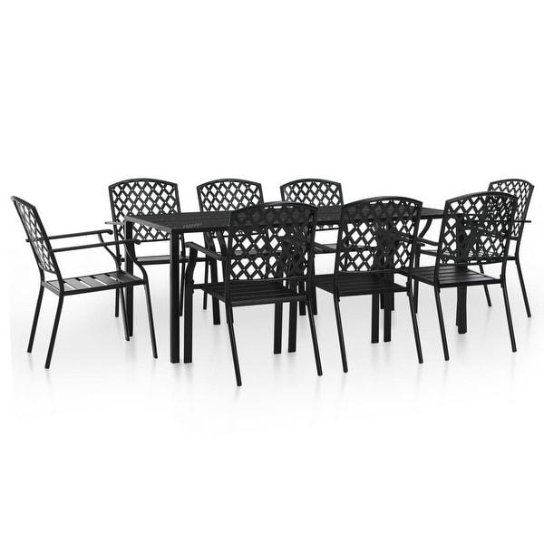 Vidaxl Outdoor Dining Set 9 Pieces Mesh Metal Stacking Garden Patio Furniture