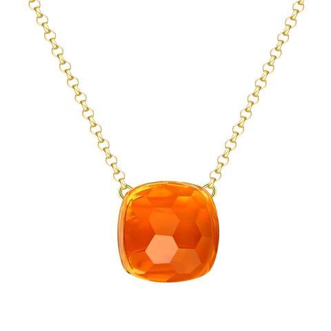 Vedantti Max Honeycomb Cut Orange Citrine Gemstone Transformer Solitaire Necklace