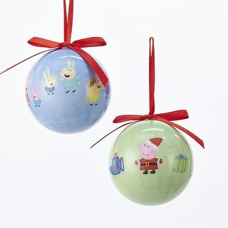 Club Pack of 24 Green and Blue Peppa Pig Decorative Decoupage Ball Ornaments 2.36