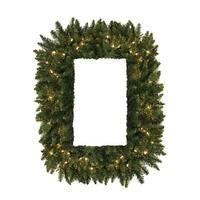 36 in. Pre-Lit Camdon Fir Rectangular Artificial Christmas Wreath