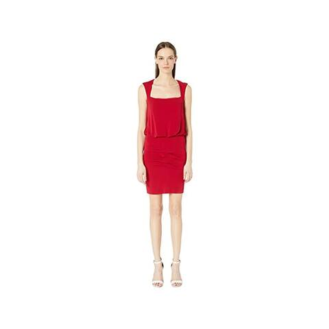 Nicole Miller Stretchy Matte Jersey Sleeveless Blouson Dress, Red, Small