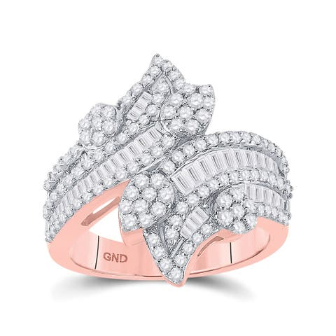 14k Rose Gold Womens Baguette Diamond Bypass Cluster Fashion Ring 1-1/3 Cttw