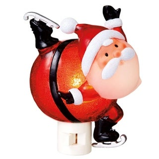 "5.5"" Bobble Head Ice Skating Santa Claus Decorative Christmas Night Light"