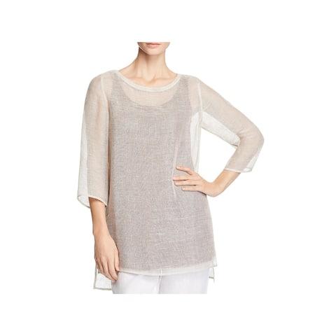 Eileen Fisher Womens Tunic Top Linen Sheer