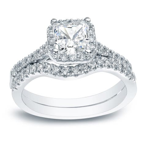 Auriya Platinum 1 1/5ctw Princess-cut Halo Diamond Engagement Ring Set