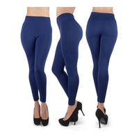 """New Lady's Navy 100% Poly Stretch Leggings L0643 - S/M 4'10""""-5'4"""" height"""