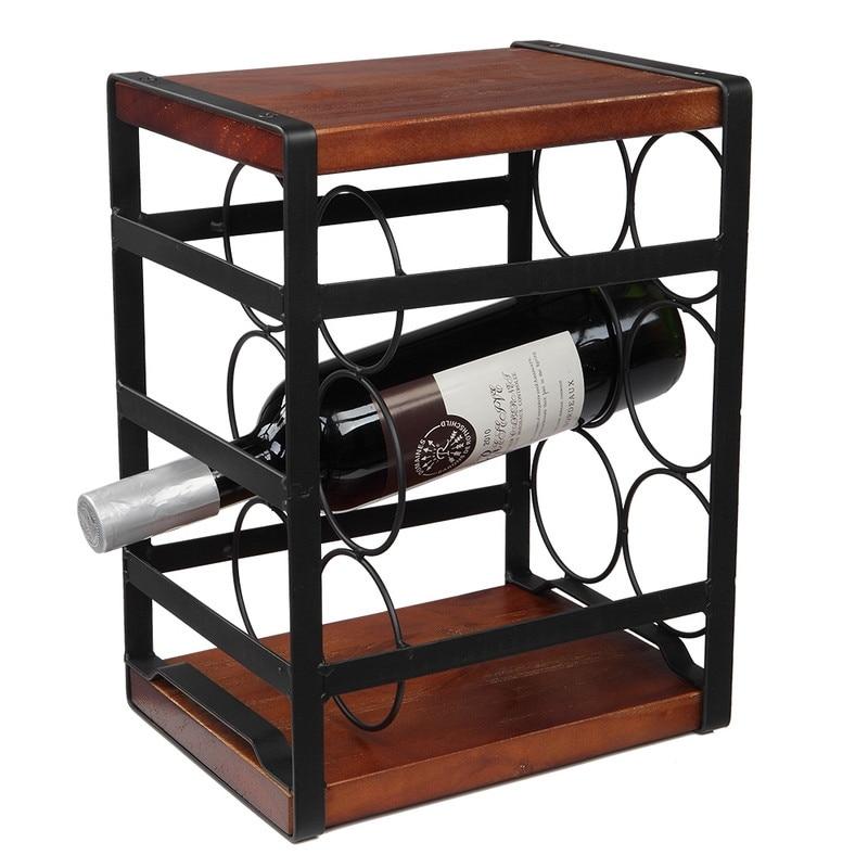 Rustic Wood Countertop Wine Rack 6 Bottles Overstock 32573988