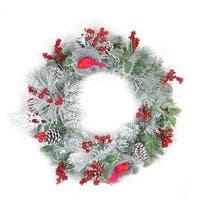 "24"" Berries and Red Cardinals in Nests Flocked Artificial Christmas Wreath - Unlit"