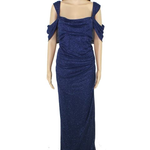 Alex Evenings Womens Gown Blue Size 20W Plus Shimmer Cold Shoulder