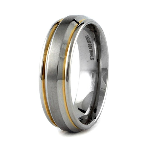 Gold Plated Stainless Steel Wedding Band 7mm (Sizes 8-12)