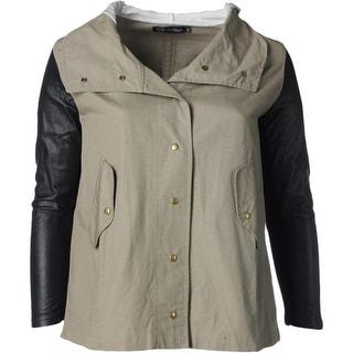 JET John Eshaya Womens Plus Leather Sleeves Hooded Jacket - 2X