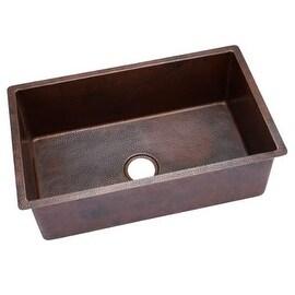 """Miseno MC3219SR 32"""" Single Basin 14-Gauge Hammered Copper Kitchen Sink for Under"""
