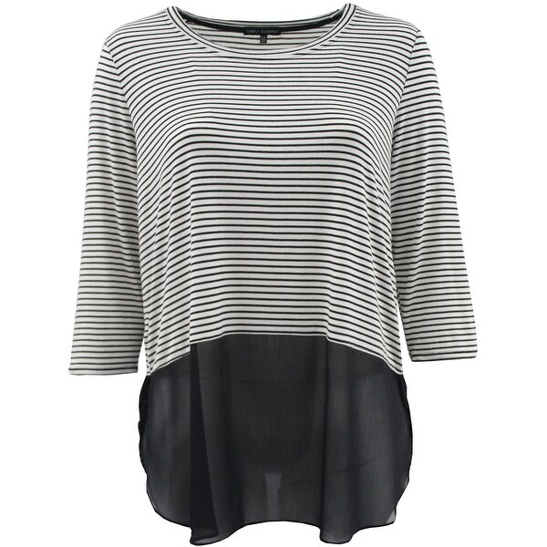 05274370d2694 Shop Women Plus Size 3 4 Sleeve Striped Chiffon Bottom Top Blouse Knit Shirt  Black White - Free Shipping On Orders Over  45 - Overstock - 17616808