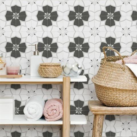 SomerTile Twenties Crest Mini 4x4-inch Ceramic Floor and Wall Tile - CASE