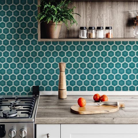 SomerTile Tribeca Hex Jade 10-1/4 in.x 11-7/8 in. Porcelain Floor and Wall Mosaic Tile