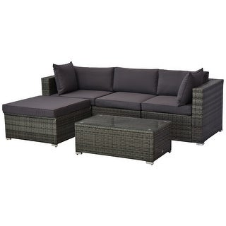 Link to Outsunny 5-piece Deluxe Outdoor Patio Rattan Furniture Set with Cushions Similar Items in Patio Sets