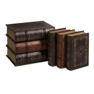 Set of 6 Ancient Decorative Table Top Weathered Book Accents