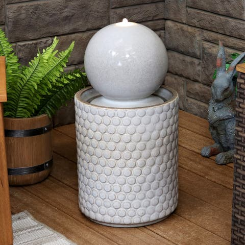 Sunnydaze Modern Orb on Circle-Pattern Base Ceramic Outdoor Fountain with LEDs - 23-Inch