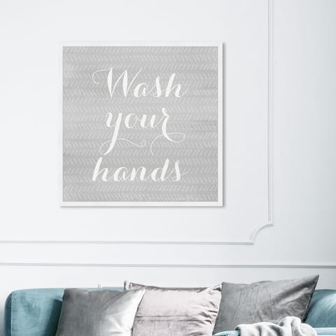 Oliver Gal 'Wash Your Hands' Bath and Laundry Wall Art Framed Print Bath - Gray, White