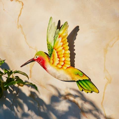 Handmade Hummingbird Yellow and Green Garden Decoration (Philippines) - 12 x 1 x 12