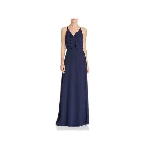 WAYF Womens Emma Evening Dress Chiffon Ruffled - Navy