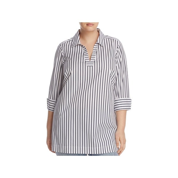 Foxcroft Womens Plus Nora Blouse Striped 3/4 Sleeves