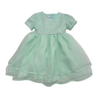 Baby Girls Green Glitter Trim Embroidered Overlaid Flower Girl Dress