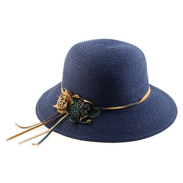 Outdoor Travel Flower Decor Wide Floppy Brim Beach Straw Cap Sun Hat Navy  Blue 17854ee2668d