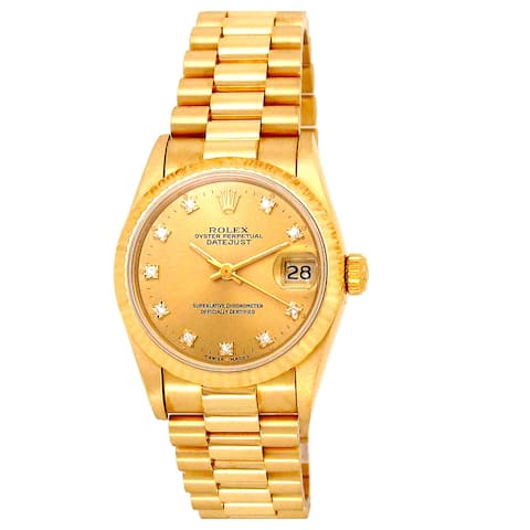 Pre-owned 31mm 18k Yellow Gold Presidential Datejust Watch - 7 inches