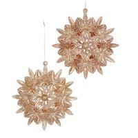 """Club Pack of 24 Golden Colored Glittered Flower Christmas Ornaments 5.12"""" - GOLD"""