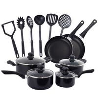 Costway 16 Piece Non Stick Cooking Kitchen Cookware Set Pots And Pans Kitchen Set - Black
