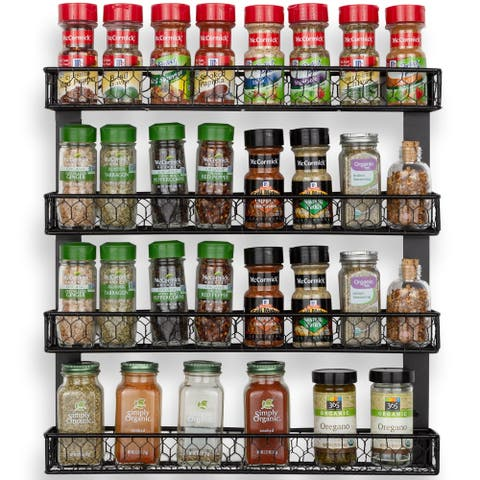Wall35 Positano 4 Tier Metal Spice Rack Kitchen Organization and Storage - Black