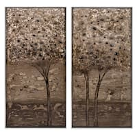 """Set of 2 Brown and Black Decorative Indoor Framed Oil Paintings 49"""""""