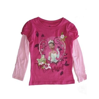 Disney Little Girls Fuchsia Pink Princess and The Frog Long Sleeve Shirt 4-6X