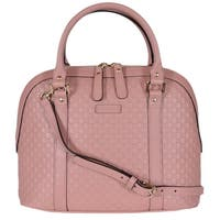 Gucci 449663 Pink Leather Medium Convertible Micro GG Dome Satchel Purse