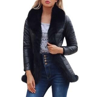 QZUnique Women Faux Fur Collar Coat Parka Overcoat Faux Leather Jacket