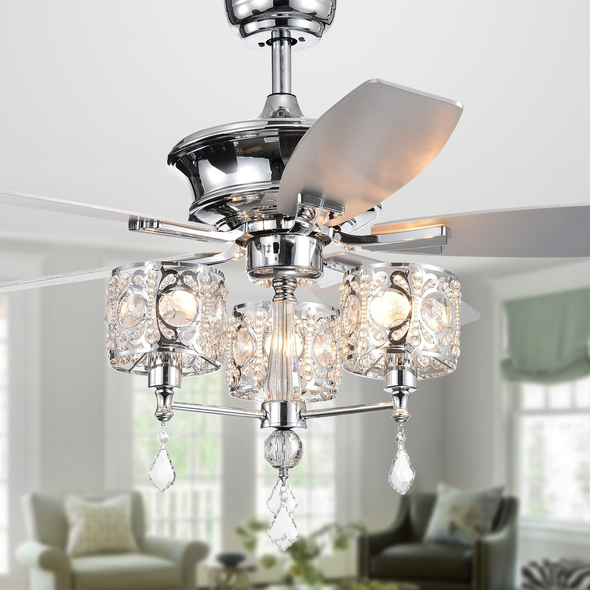 Shop Miramis 52 Inch Chrome Ceiling Fan With Crystal Chalice Chandelier Overstock 23610418,Best Natural Mosquito Repellent For Yard