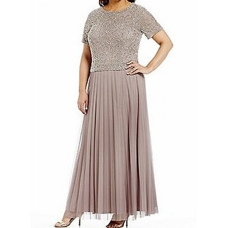 Cachet NEW Latte Beige Womens Size 8 Embellished Pleated Gown Dress