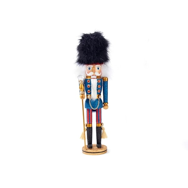"17"" Hollywood Blue Guard with Black Faux Fur Hat Decorative Wooden Christmas Nutcracker Soldier"